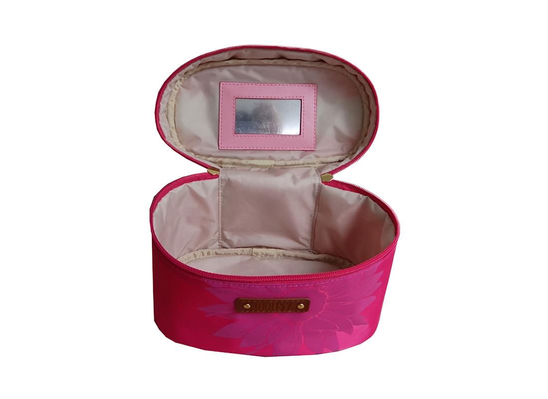 Daisy Flower Makeup Bag in Pink Open