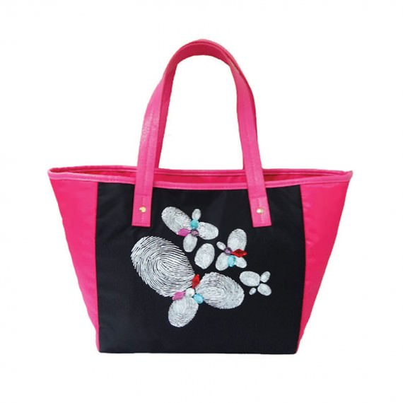 Tote Bag with Fingerprint flower printing
