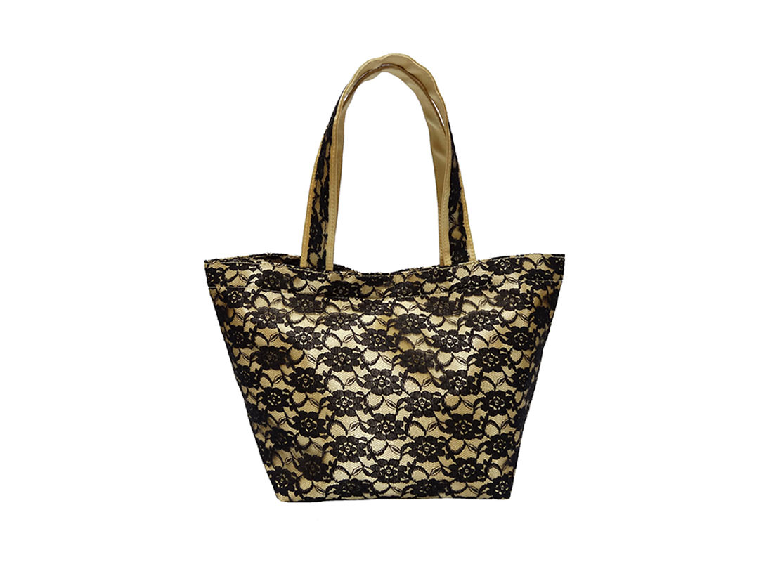 Black Lace Bag with Yellow Satin