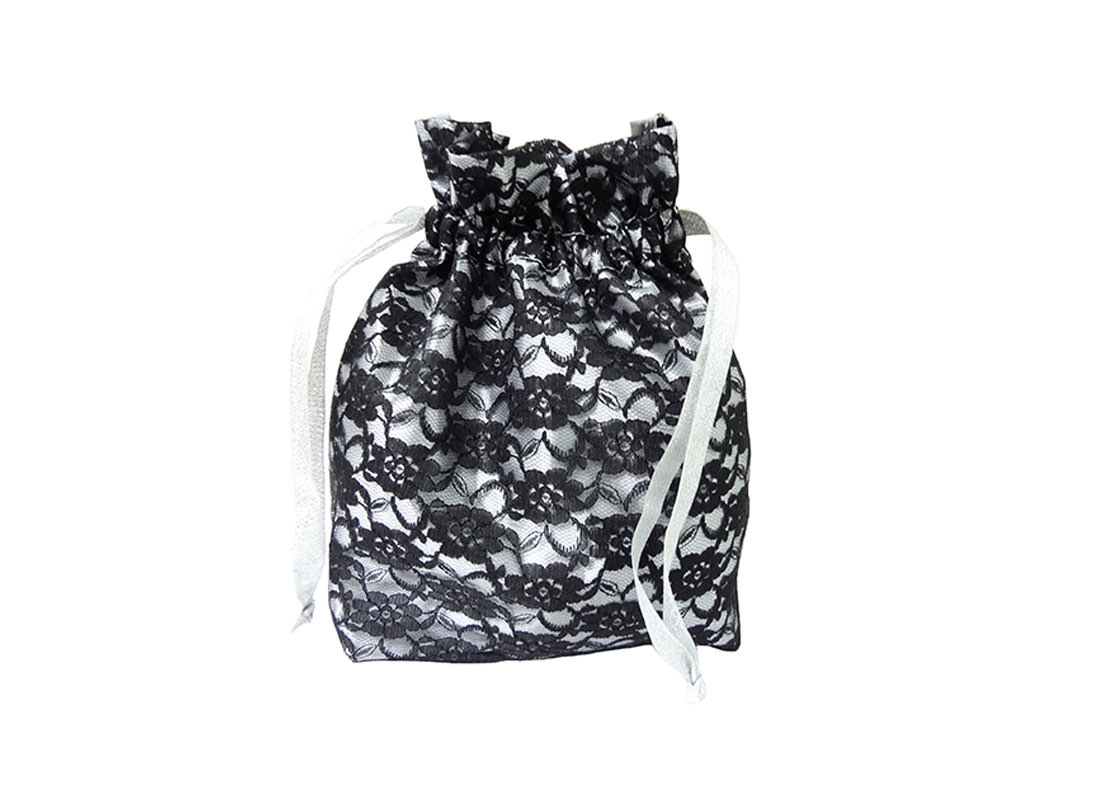 small drawstring bag with lace
