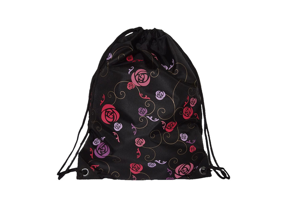 Drawstring sport bag rose pattern