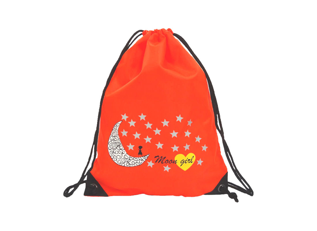 drawstring sport bag with moon & star printing
