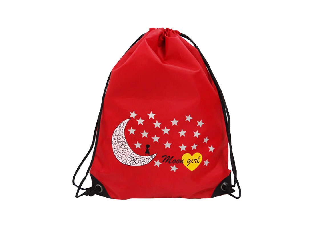 drawstring sport bag with moon & star printing red