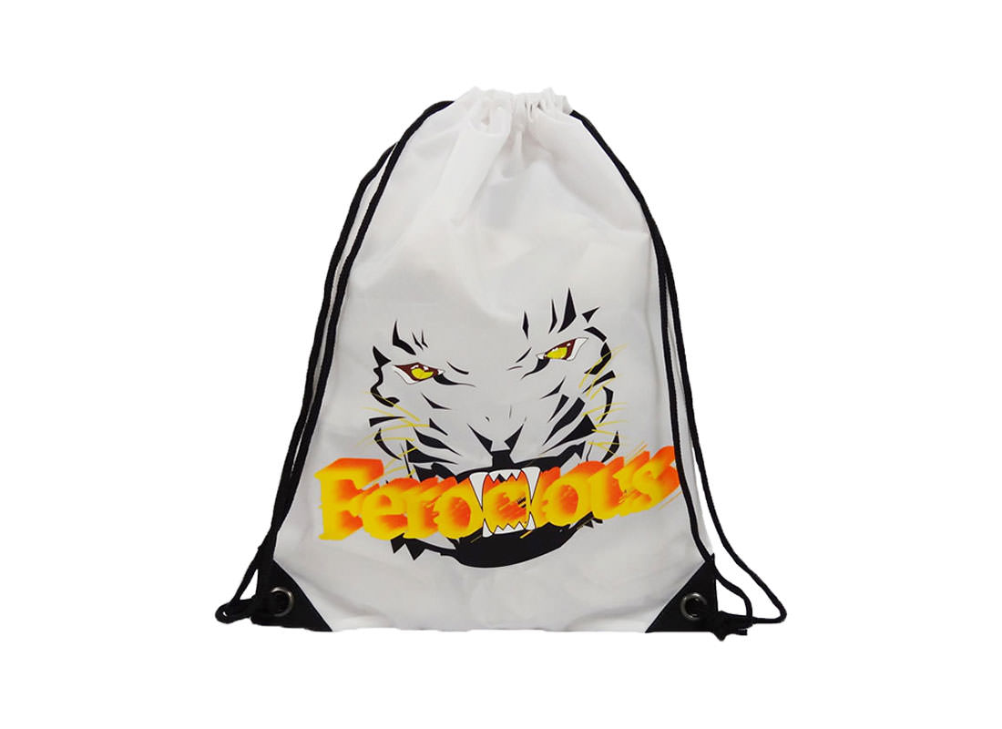 drawstring sport bag with tiger printing
