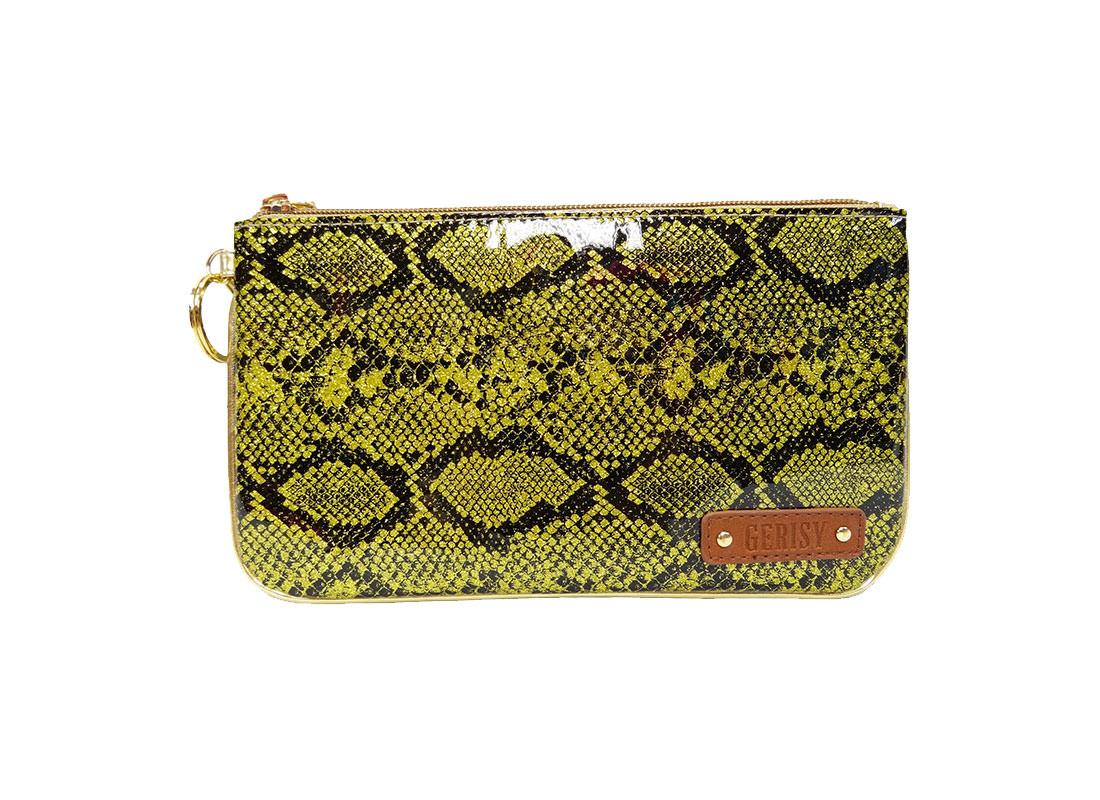 Glitter Snake Skin Zipper Pouch in Yellow