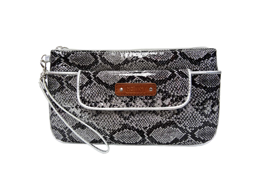Medium Glitter pouch with snake skin pattern