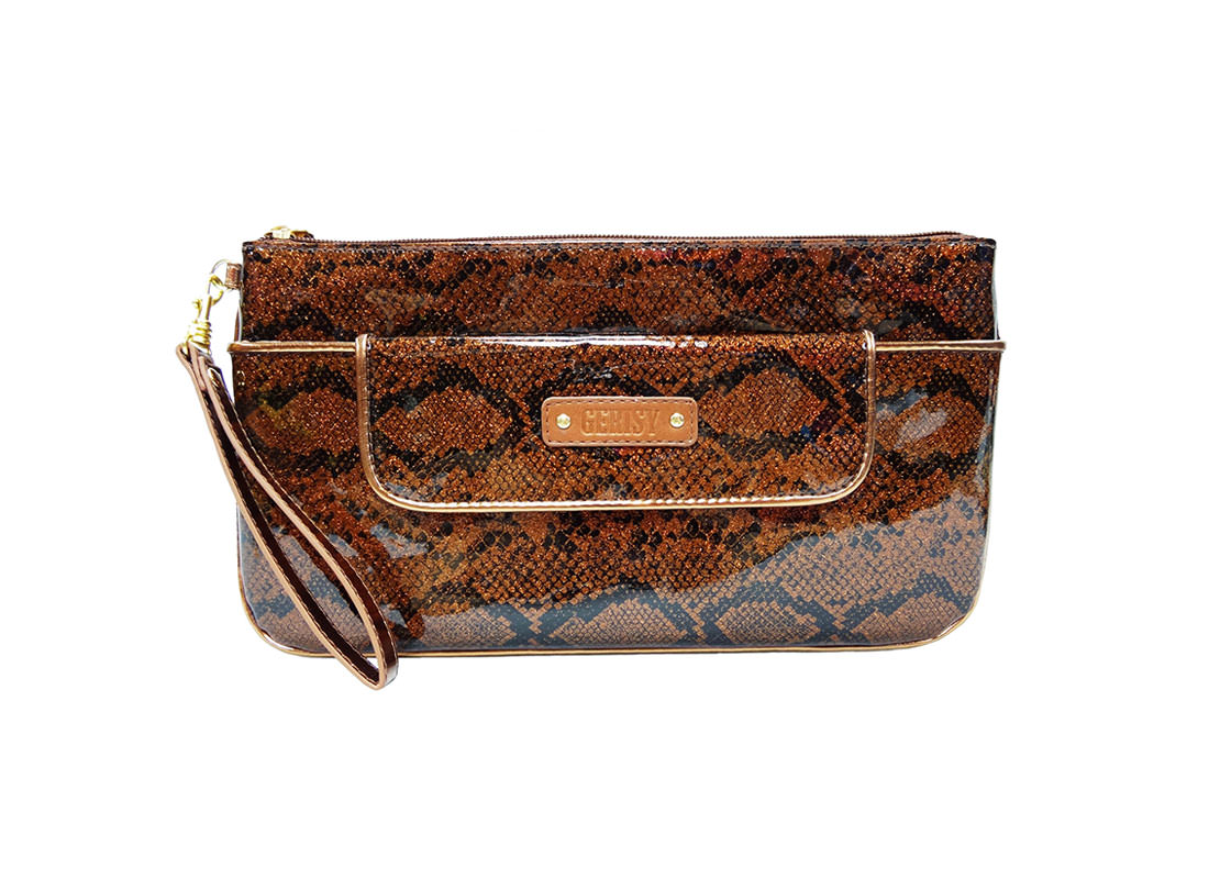 Large Glitter Zipper Pouch with snake skin pattern