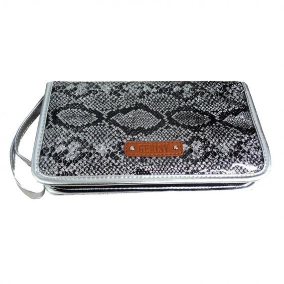 Eyebrow pencil case in silver glitter snake pattern