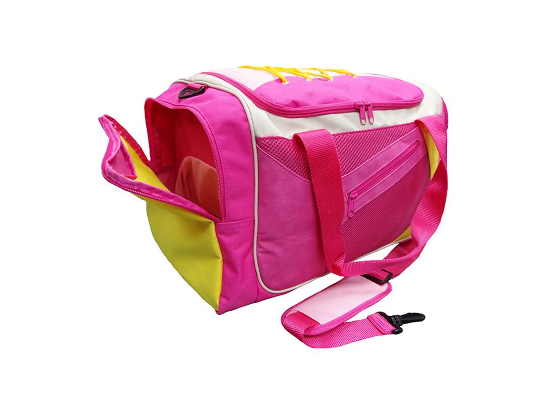 Pink Sport Bag with Shoe Pocket Side Open