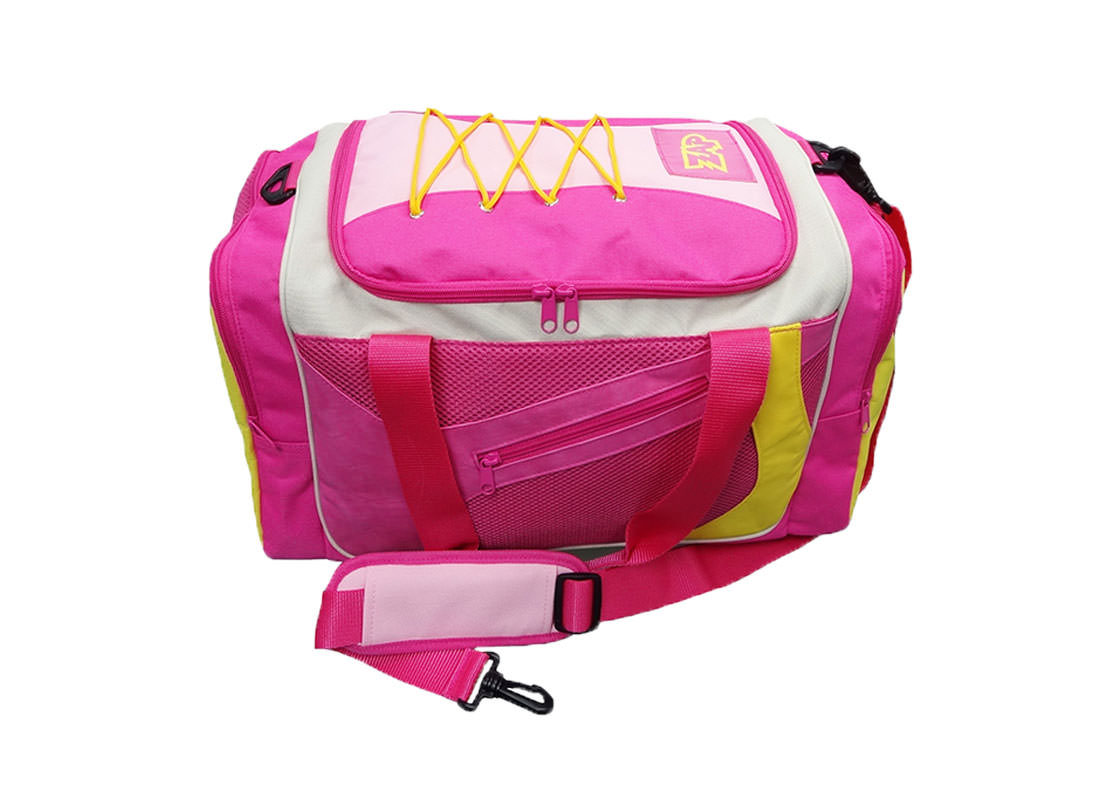 Pink Sport Bag with Shoe Pocket Top View