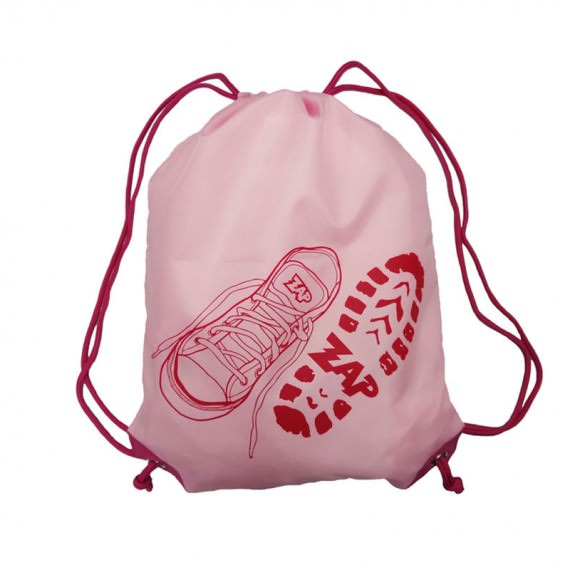 Pink Drawstring Bag with Shoe Printing