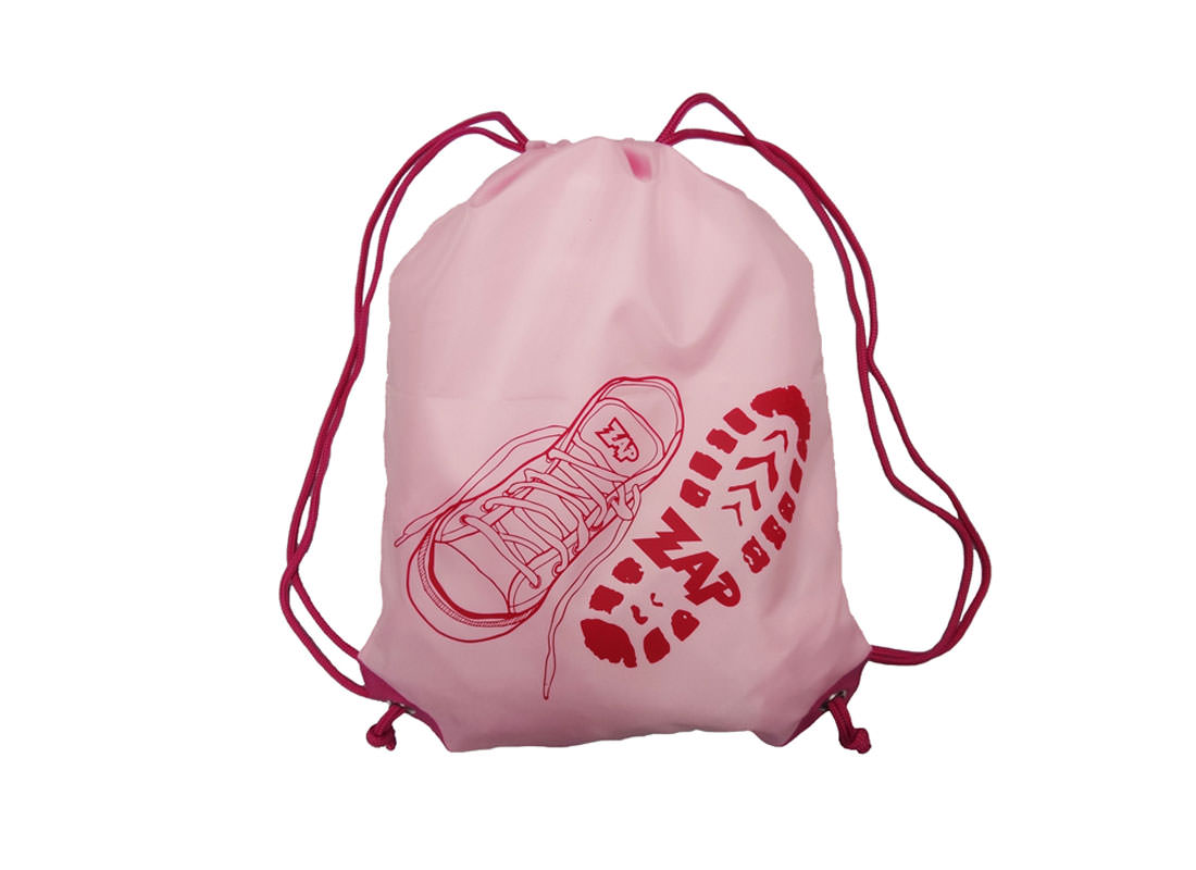Pink Drawstring Bag with Shoe Printing