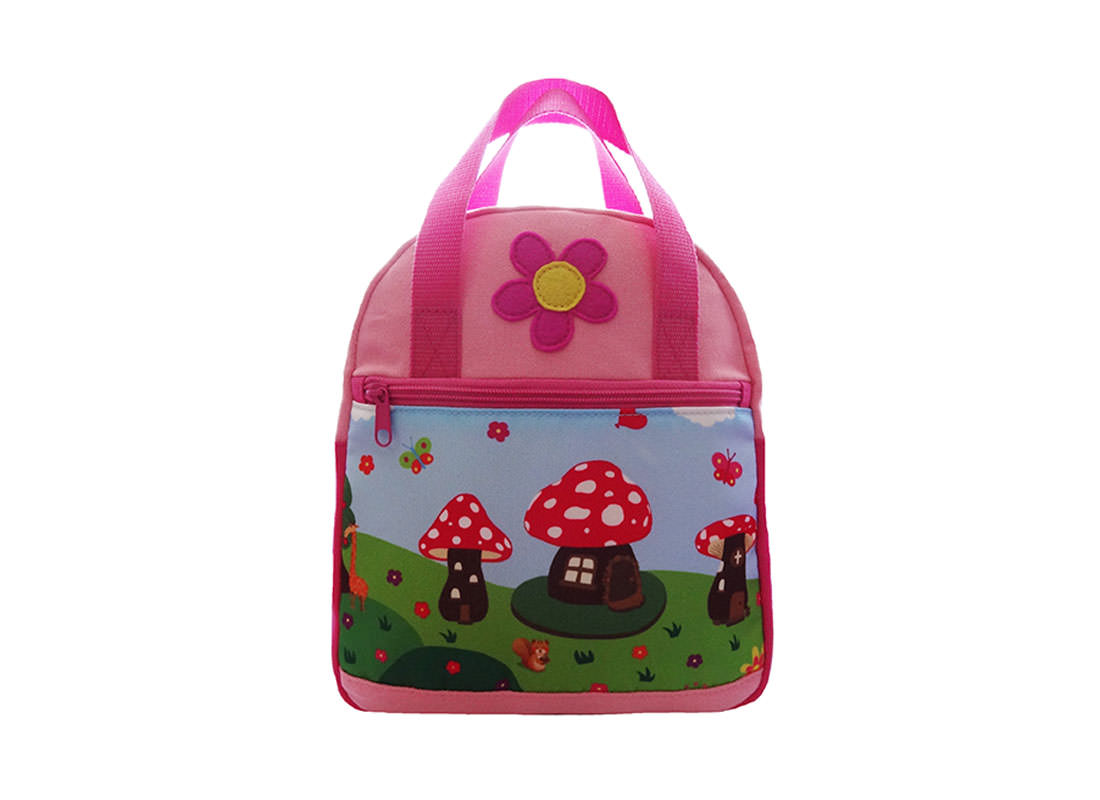 Children Backpack with Mushroom House Cartoon Printing