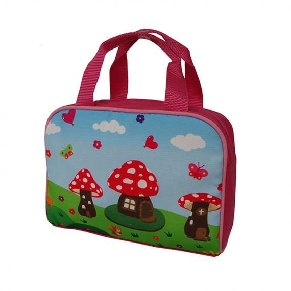 Kid Handbag with Mushroom House Printing