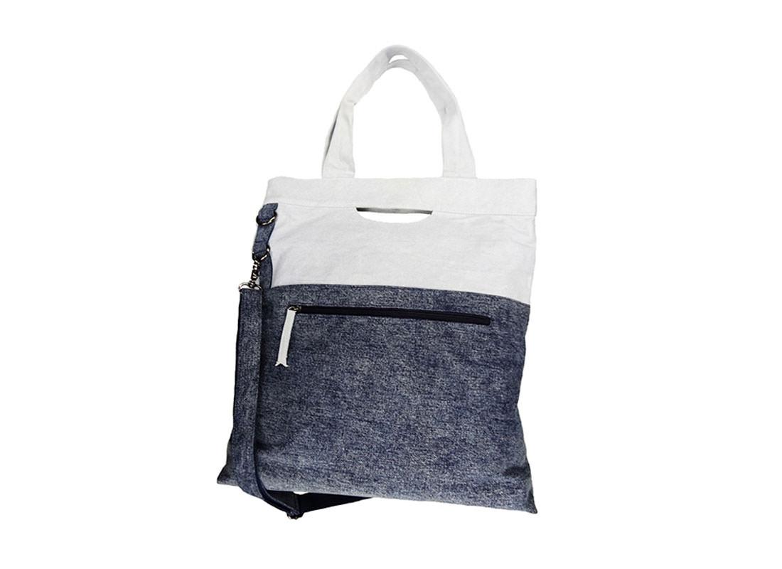 Washed Denim Tote Bag for Men Back