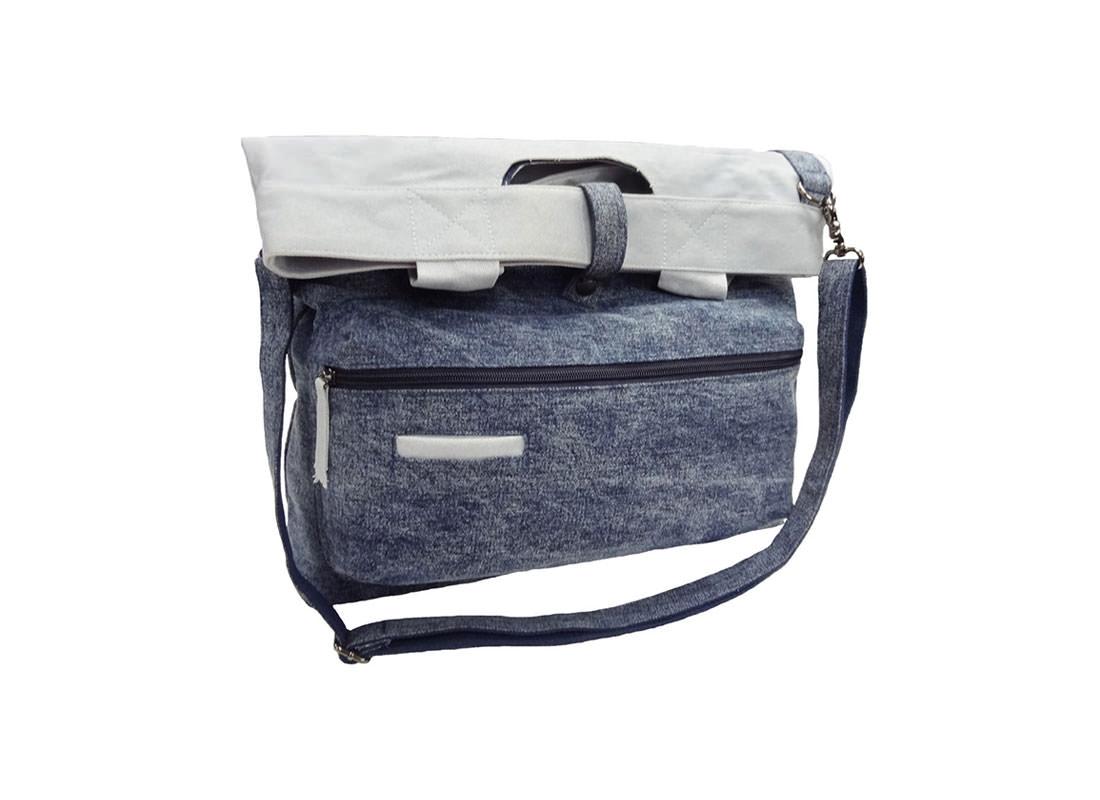 Washed Denim Tote Bag for Men Folded