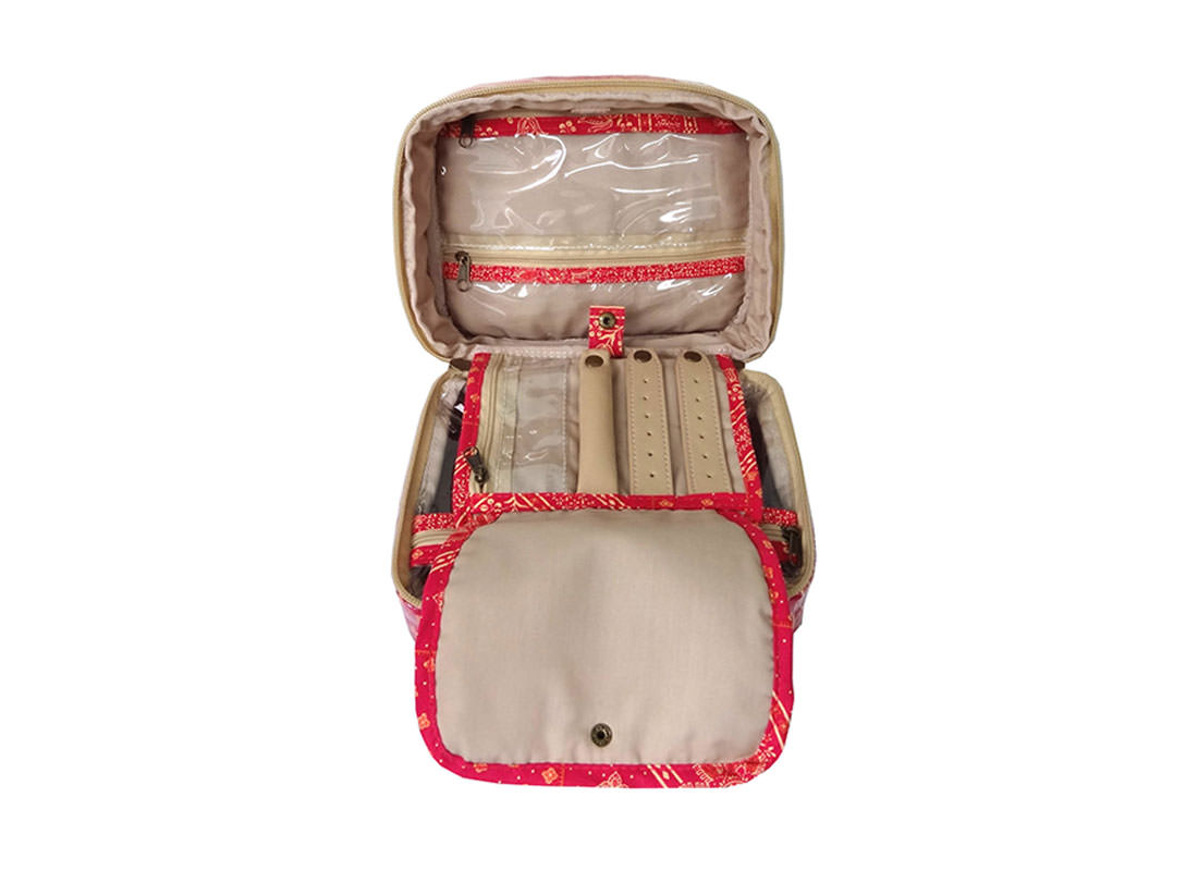 Organizer Pouch with multiple pockets in Red Color open 1