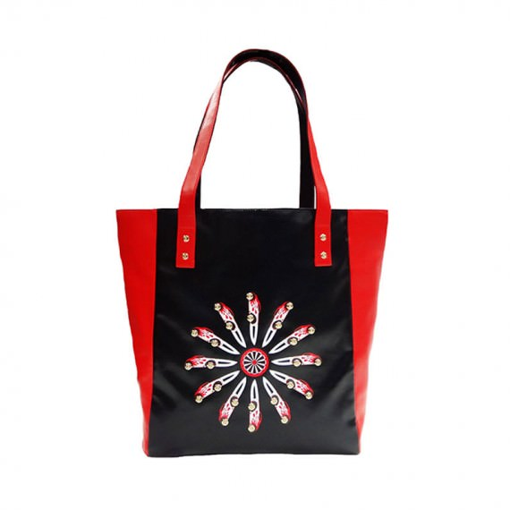 Faux Leather Tote with Car knife prinitng