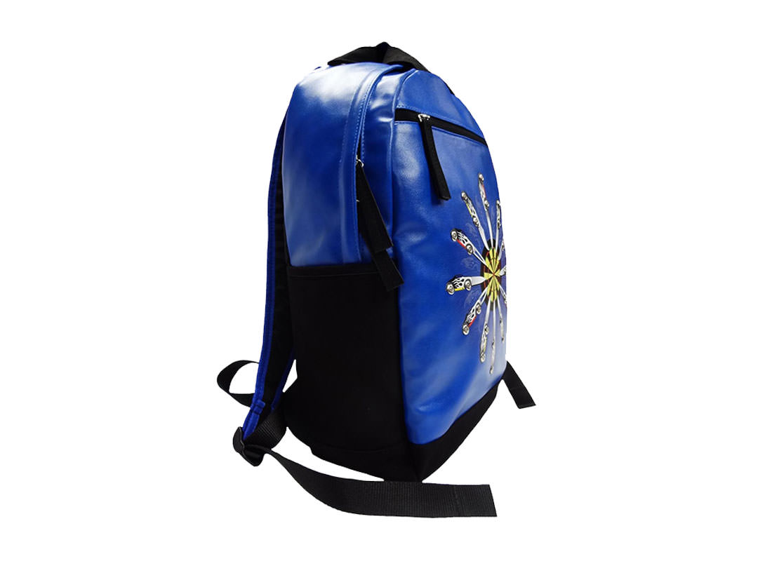 Faux Suede and PU leather Backpack with Printing & Studs side