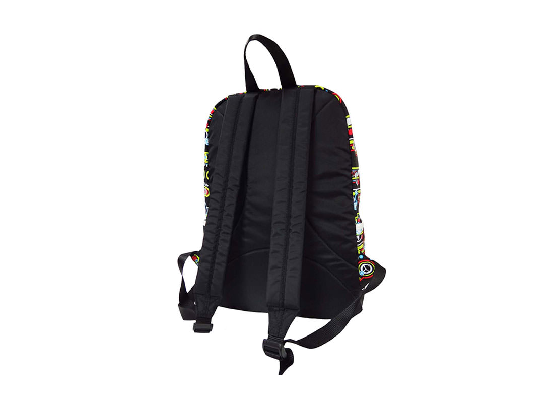 Geometric Pattern Backpack with jumbo Zipper Pocket at Front back