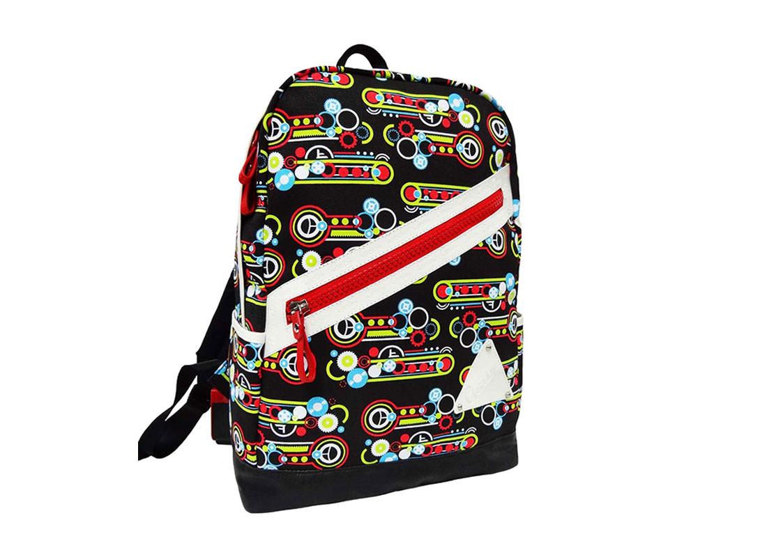 Geometric Pattern Backpack with jumbo Zipper Pocket at Front