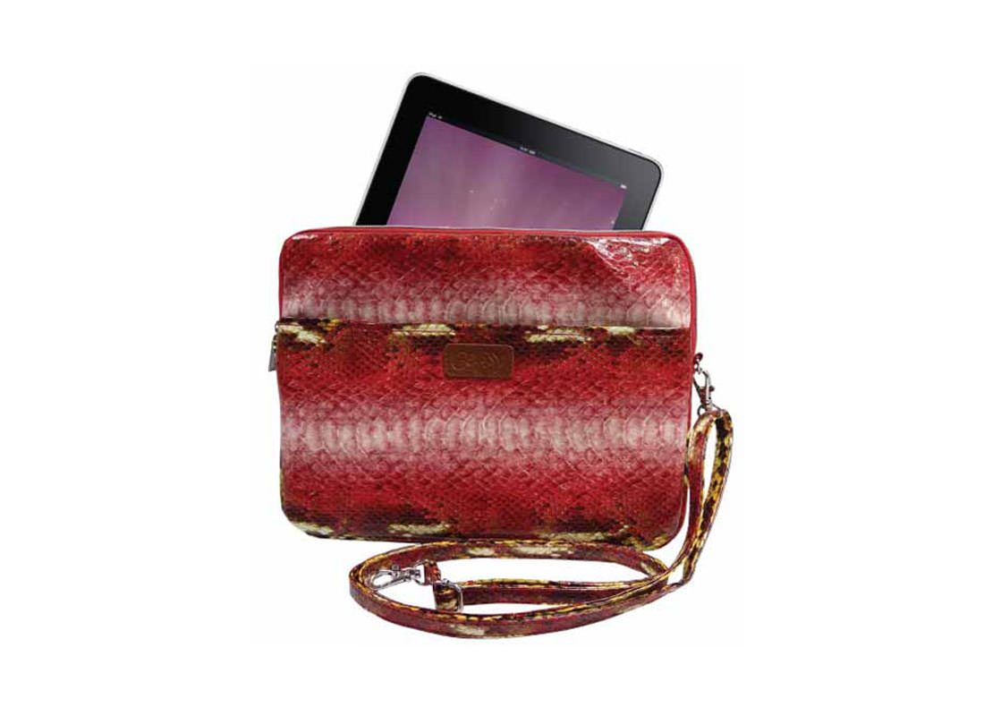 iPad Pouch with Shoulder Strap snake skin pattern with sample