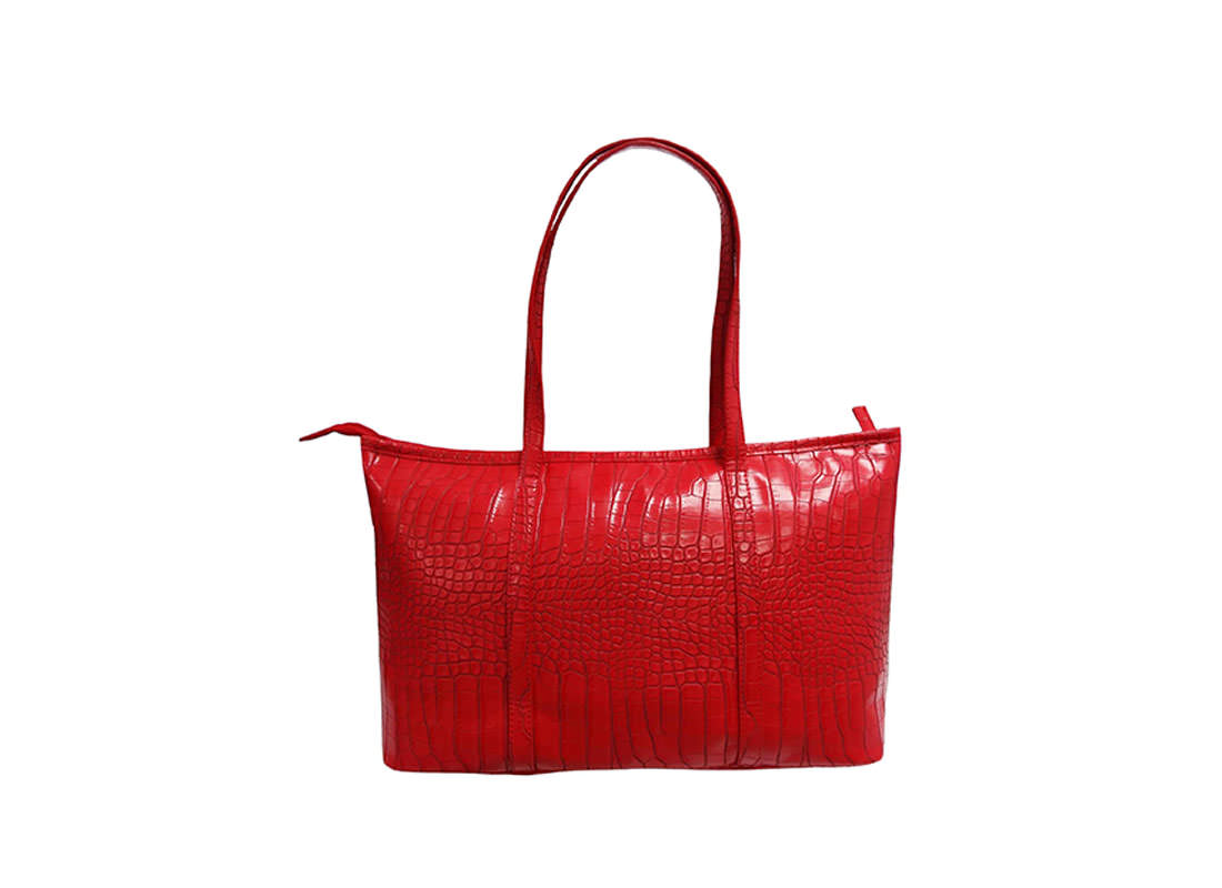 Faux Crocodile Handbag in Red Color back