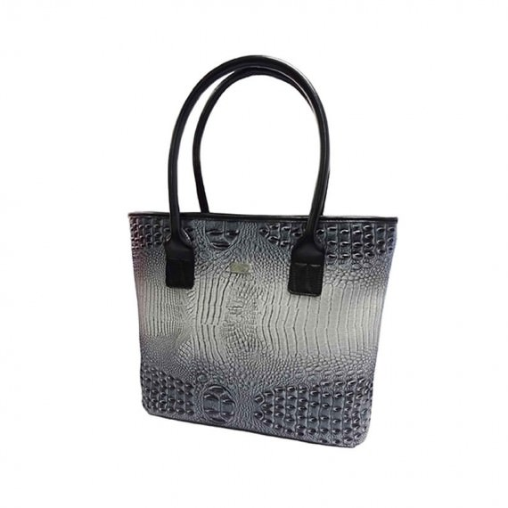 Black & Grey Faux Crocodile Handbag