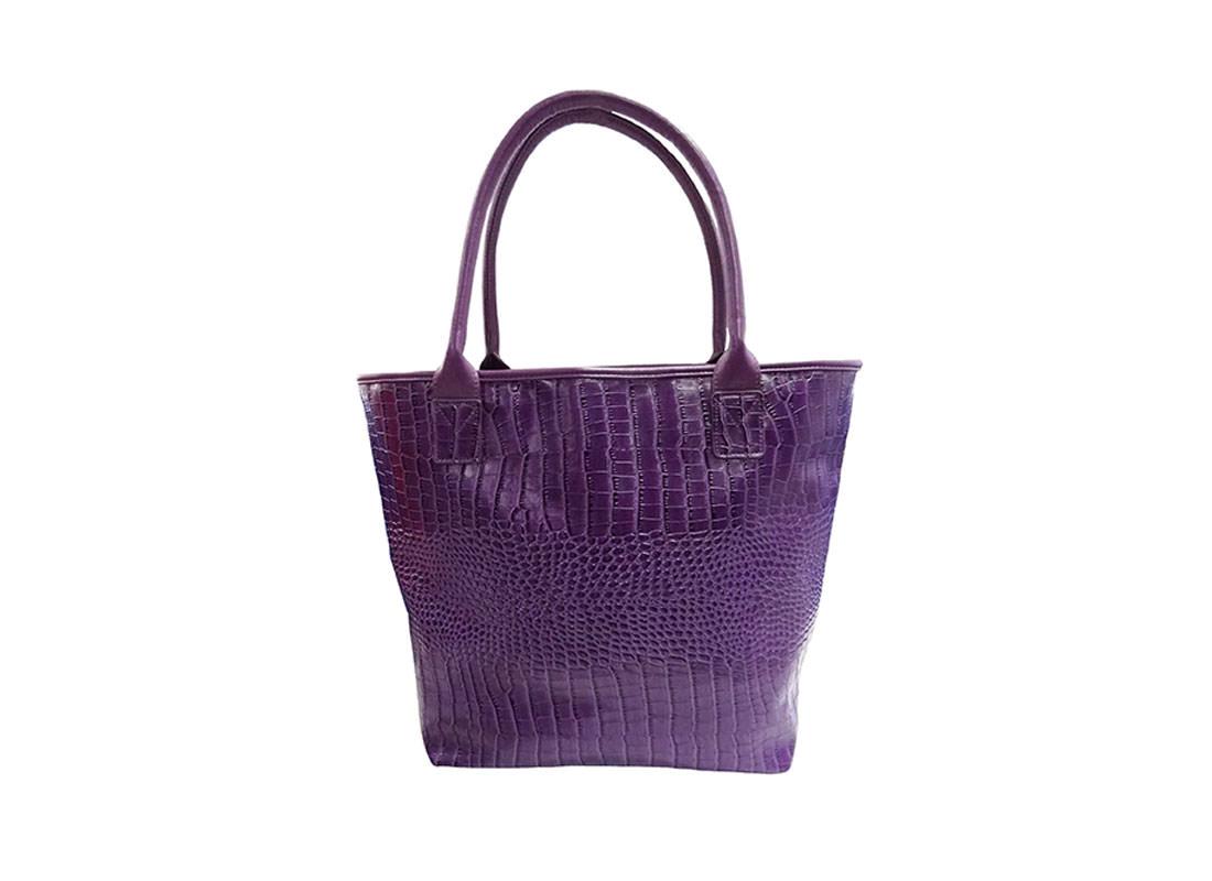 Purple Faux Crocodile Handbag