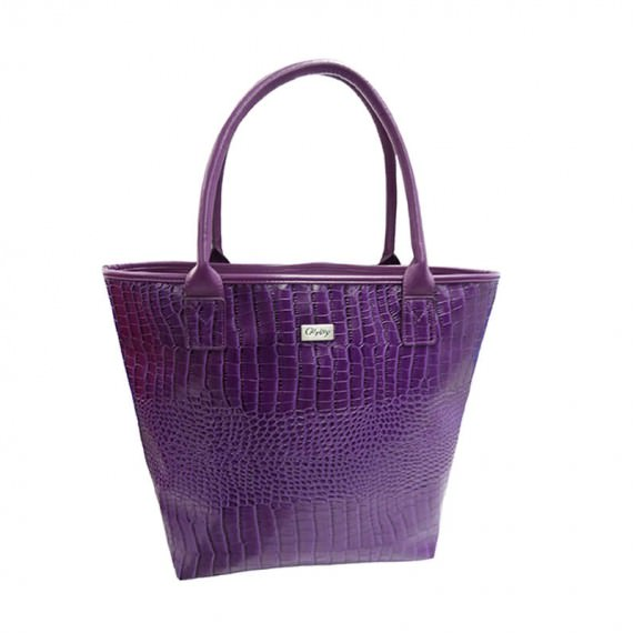 Purple Faux Crocodile Handbag