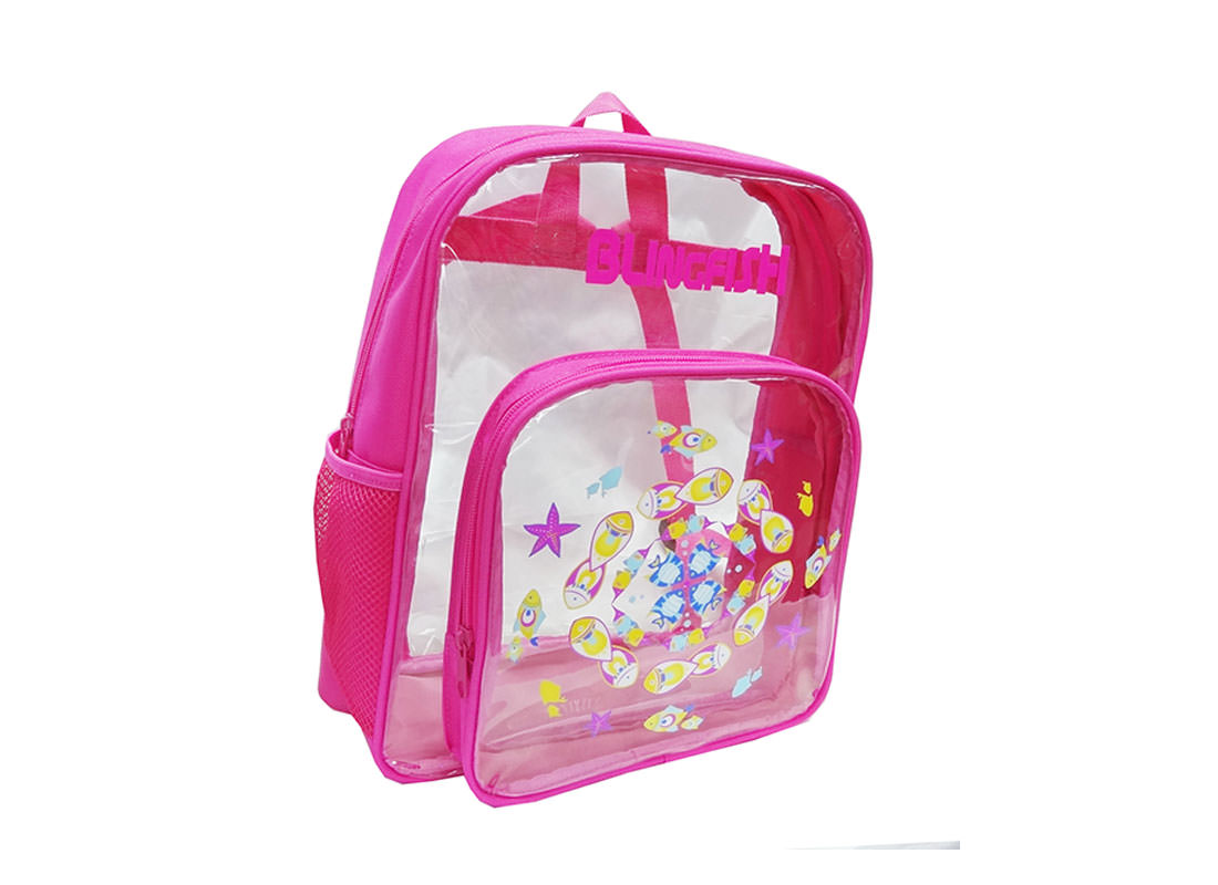 transparent backpack with fish print for children side