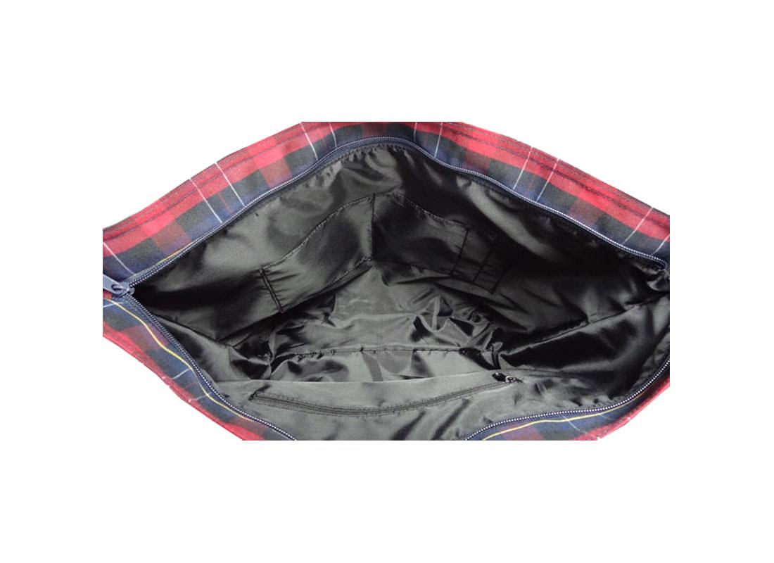 Plaid Tote Bag Open