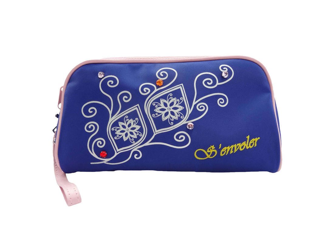 Simple Cosmetic bag in Blue with flower printing