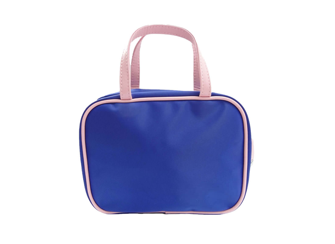 Cosmetic bag with compartments in blue back