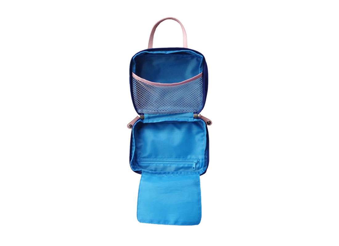 Cosmetic bag with compartments in blue open