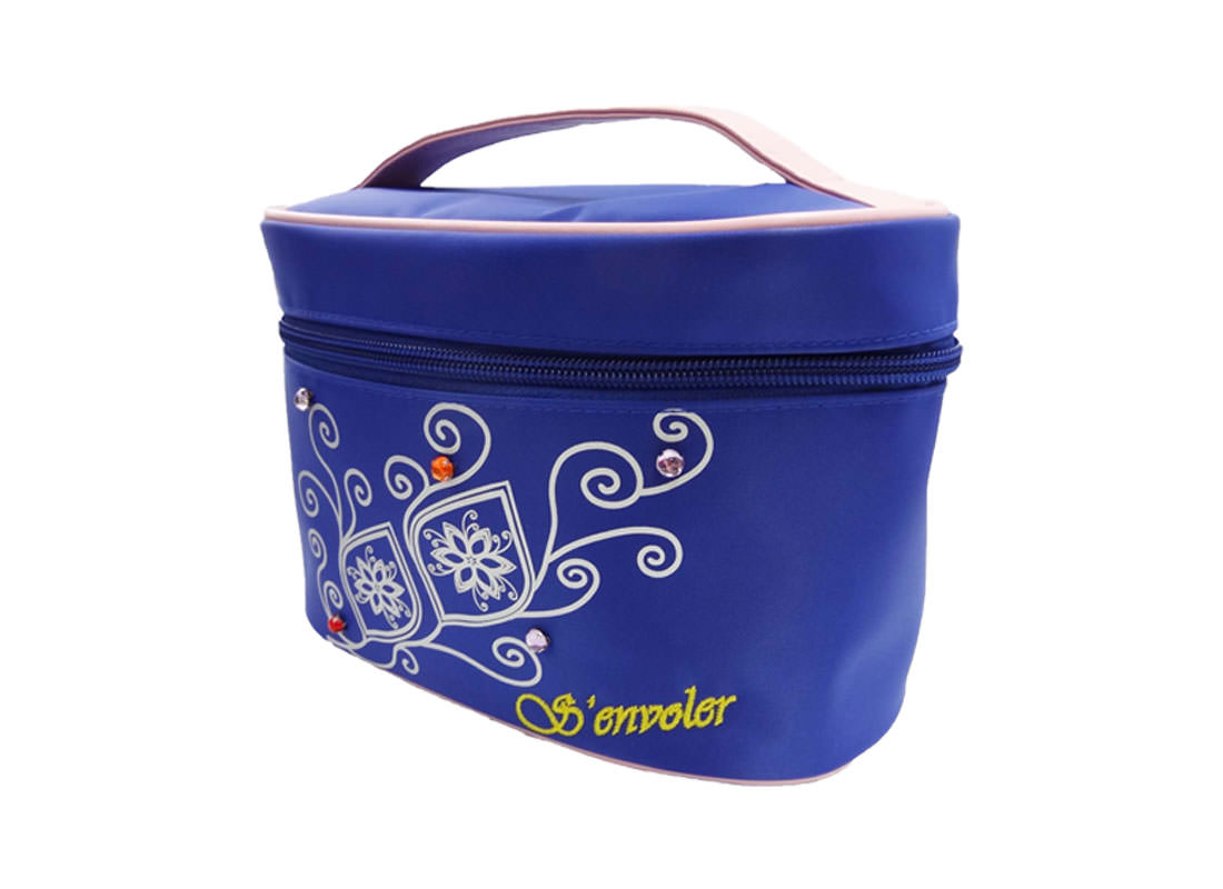 cosmetic bag with mirror in blue with flower printing R side