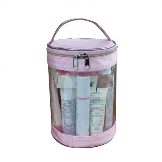 Transparent Barrel Cosmetic Bag