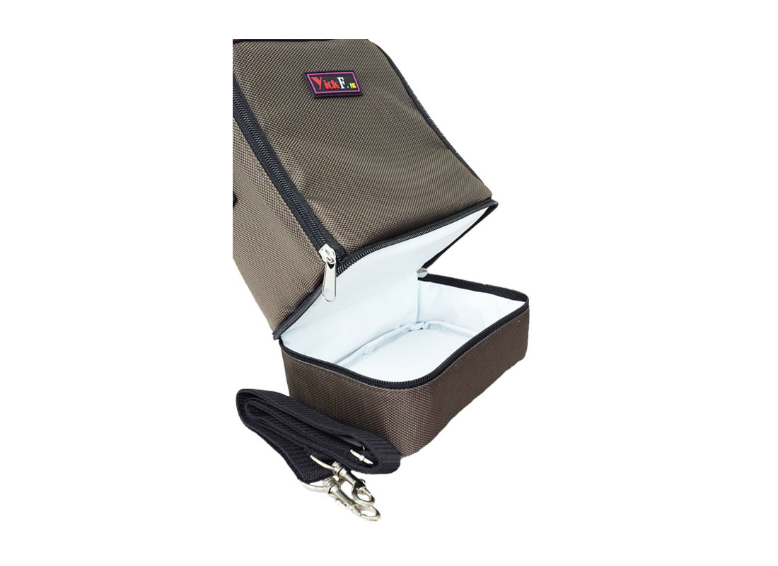 Two Compartment Lunch Bag in Brown Open