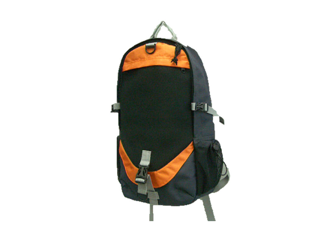 Backpack for men in black & orange trimming side