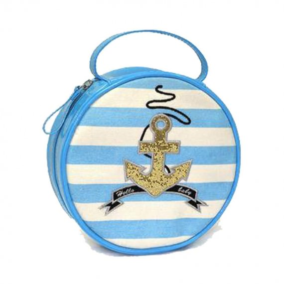 Striped Canvas Circle Bag