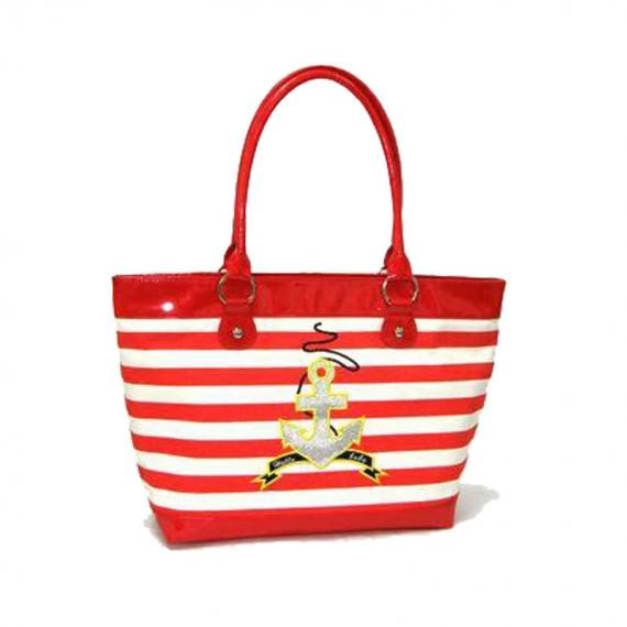 Striped Canvas Tote with Anchor Printing