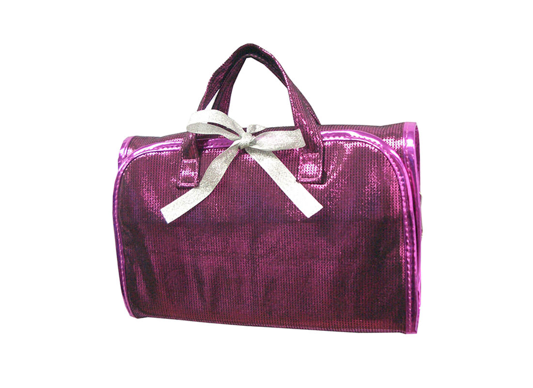 Shiny Pink Rollup Bag with Ribbon Closure
