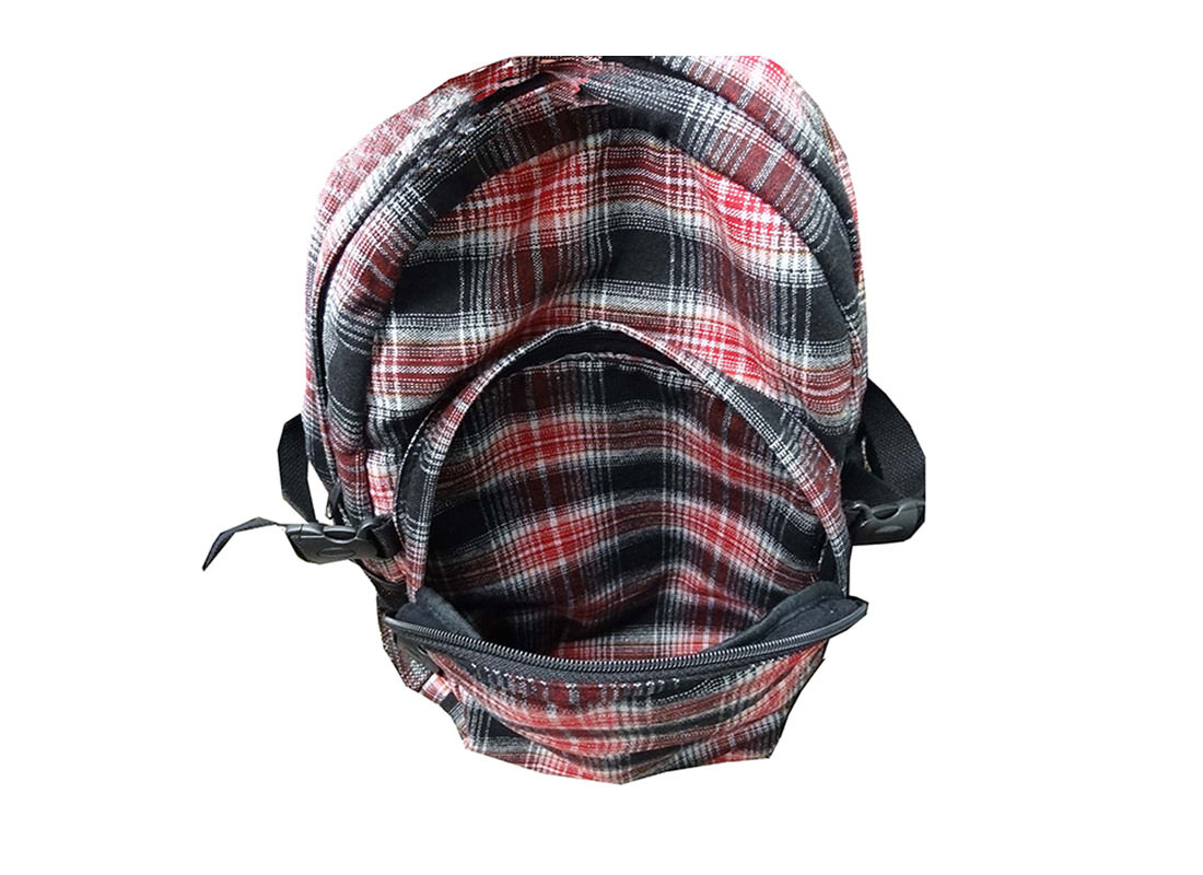Plaid Backpack for Casual Use front pocket open
