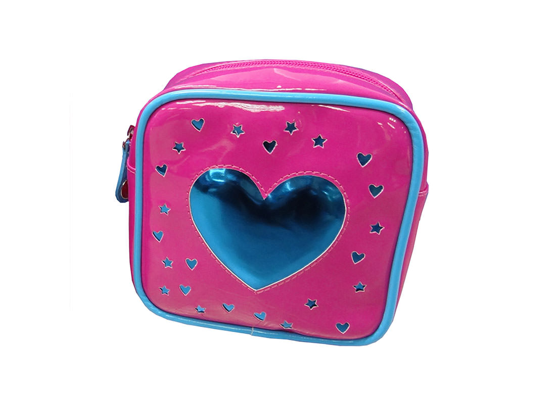Square Zipper Bag with a Big Heart Shape patch Top view
