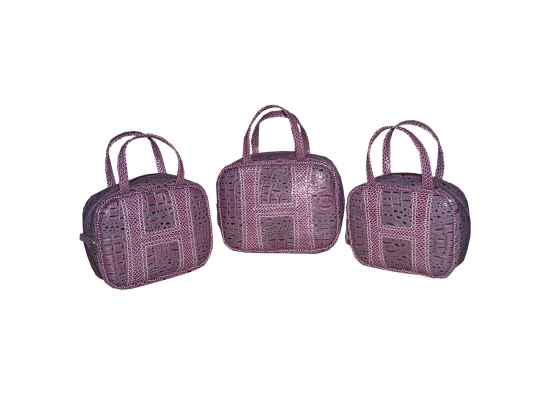 Crocodile Print PU Cosmetic Bag with three sizes choice