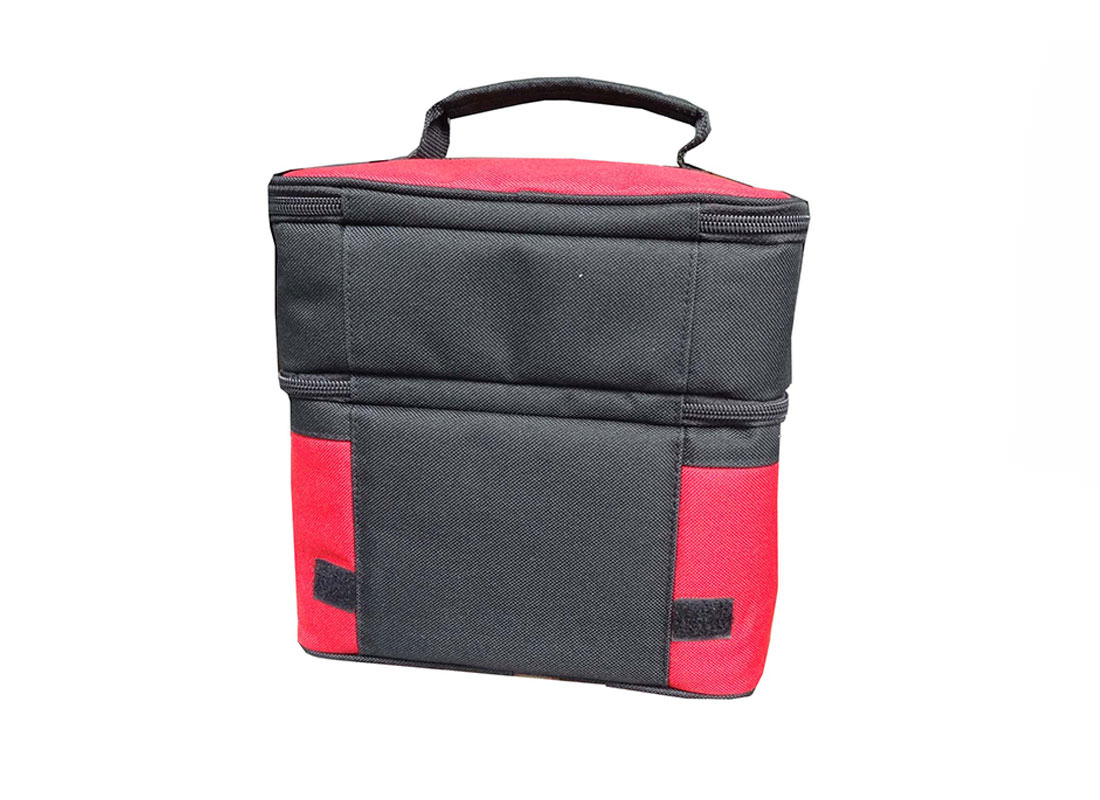 Two Compartment Cooler Bag in Black & Red Back