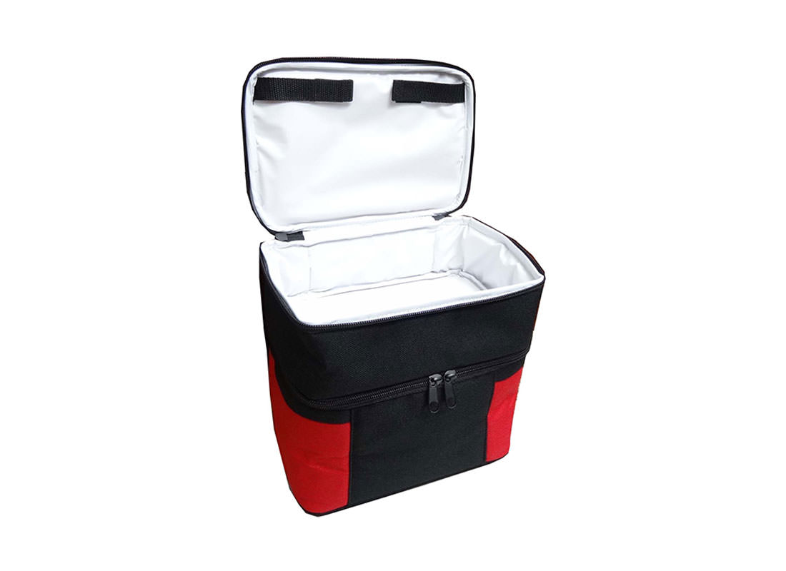 Two Compartment Cooler Bag in Black & Red Open