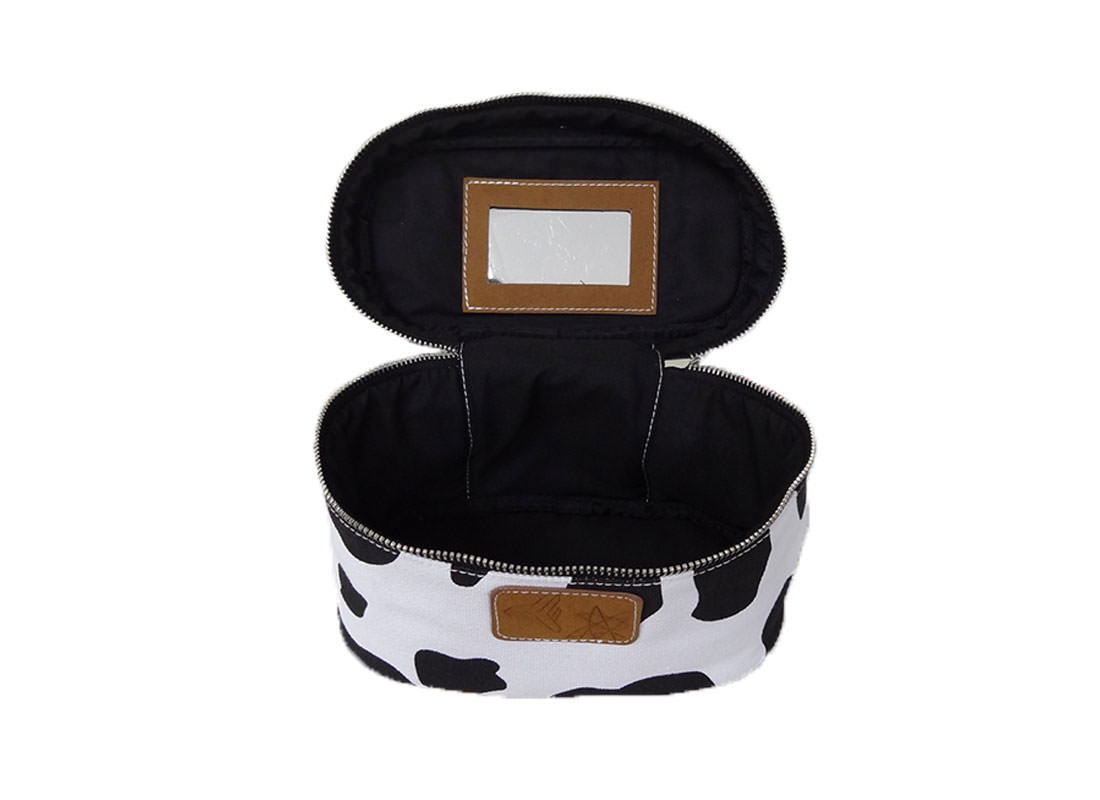 Cow makeup bag with handle Open