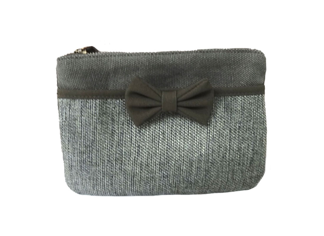 Cotton Zipper Pouch in Grey