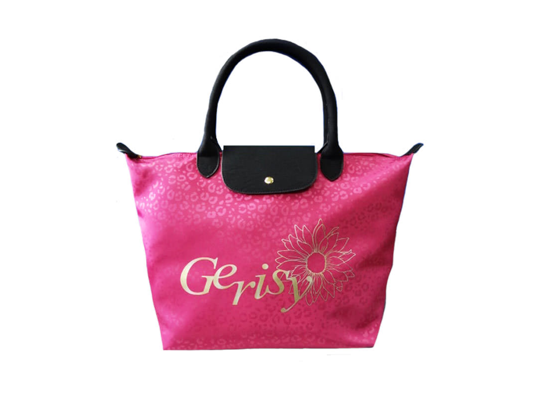 Short Handle Tote with Leopard Pattern in Pink